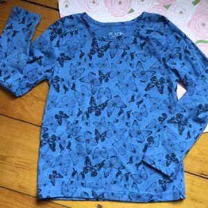 Children's Place 7/8 butterflies long sleeve top